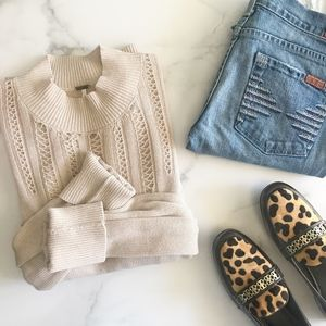 Free People Tan Crochet Turtleneck Sweater Large